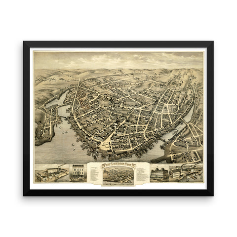New London, CT 1876 Framed Bird's Eye View