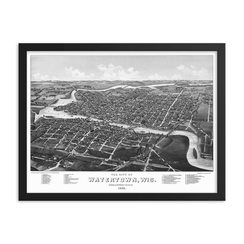 Watertown, Wisconsin 1885 Framed Map