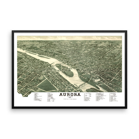 Aurora, IL 1882 Framed Historic Map