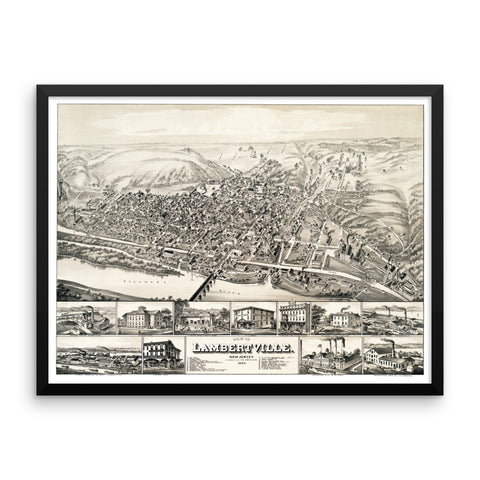Lambertville, New Jersey 1883 Framed
