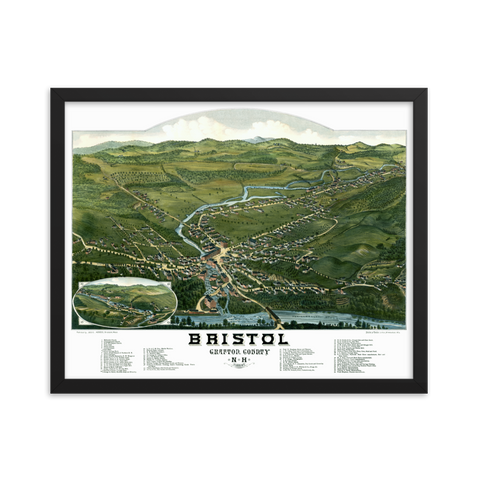 Bristol, NH 1884 Framed Map