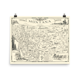 Map of Frontier Montana, a one page history dedicated to the Old Timers, 1936
