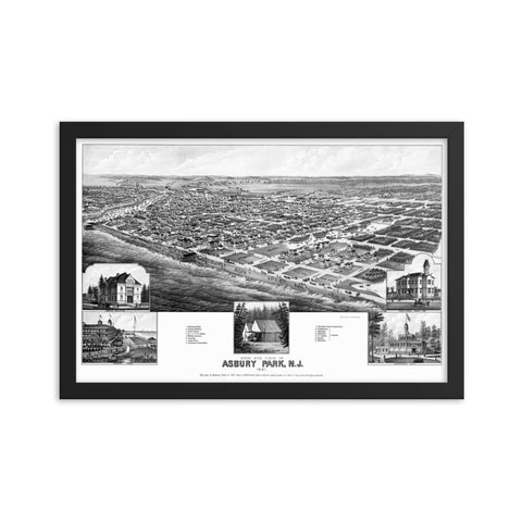 Asbury Park, NJ 1881 Framed Historic Map