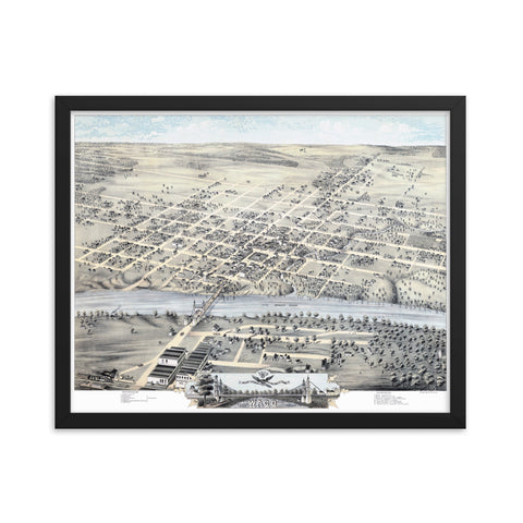 Waco, Texas 1873 Framed
