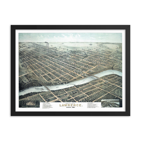 Lawrence, KS 1880 Framed