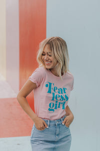 Limited: Fearless Girl Feminist Graphic Tee - Pink & Turquoise