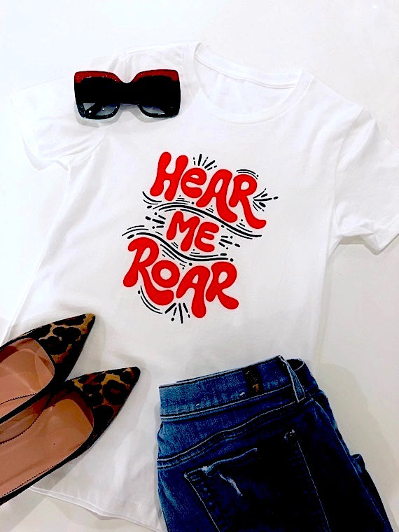 Hear Me Roar Feminist Tee - White