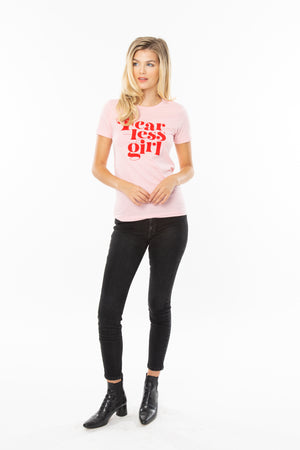 Fearless Girl Feminist Graphic Tee - Pink