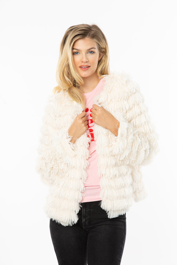 White Furry Fringe Jacket