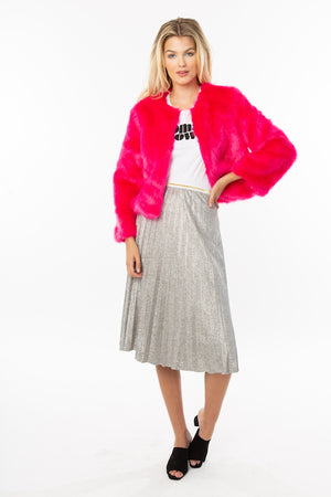 Fuchsia Faux Fur Cropped Jacket