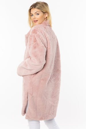 Oversized Pink Faux Fur Coat