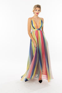 Rainbow Striped Maxi Dress