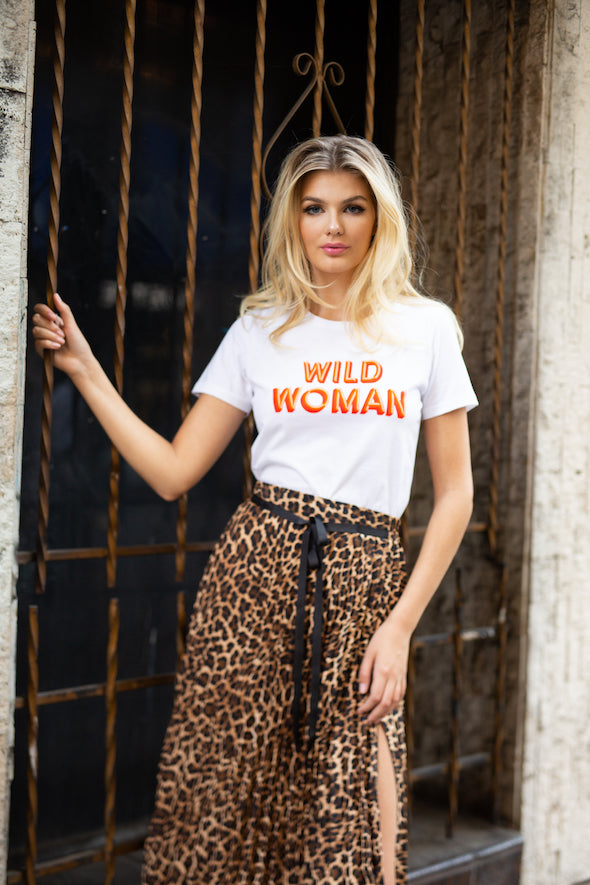 Wild Woman Feminist Graphic Tee - White