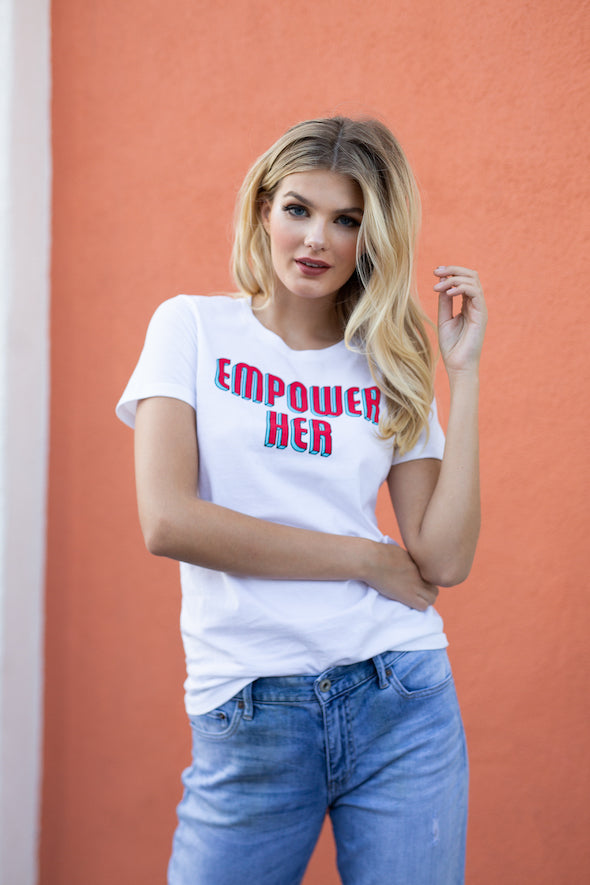 Empower Her Feminist Graphic Tee - White