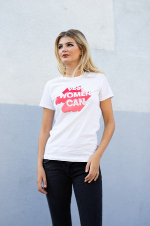 Yes, Women Can Feminist Graphic Tee - White
