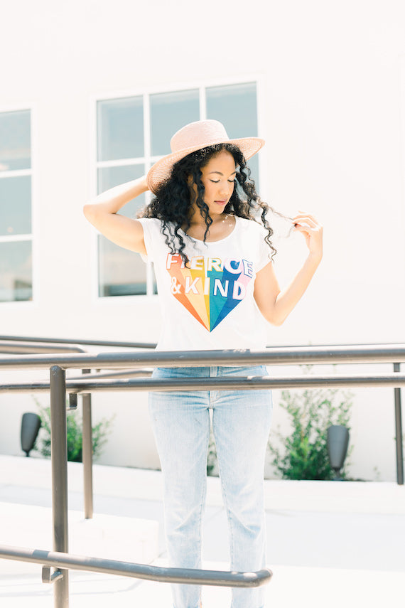 Limited: Fierce & Kind Graphic Tee - White and Rainbow