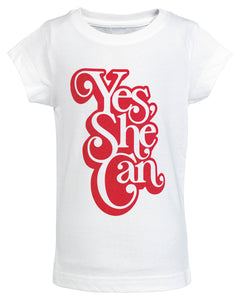 Yes, She Can Toddler Graphic Tee - White