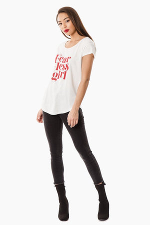 Fearless Girl Feminist Graphic Tee - White