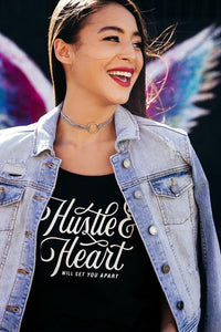 Hustle and Heart Will Set You Apart Graphic Tee - Black