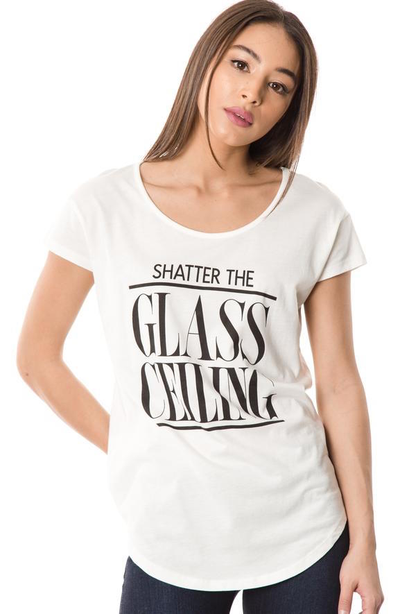 Shatter the Glass Ceiling Feminist Graphic Tee - White
