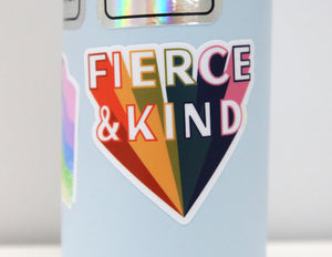 Fierce & Kind Sticker in Rainbow