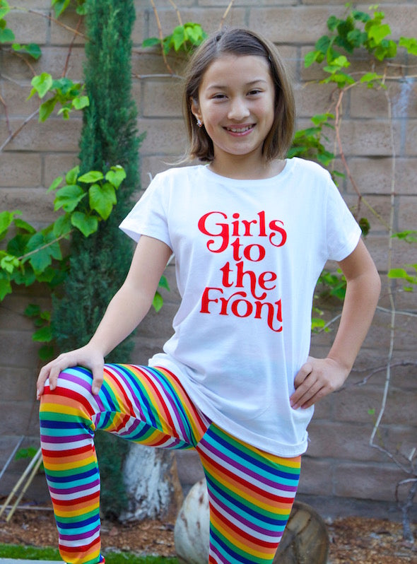 Girls to the Front Youth Graphic Tee - White