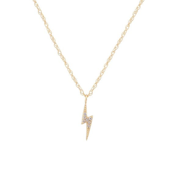 Lightning Bolt 18K Gold Pave Necklace