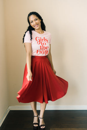Red Midi Classic Skirt
