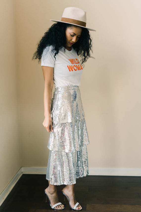Silver Sequins Tiered Skirt
