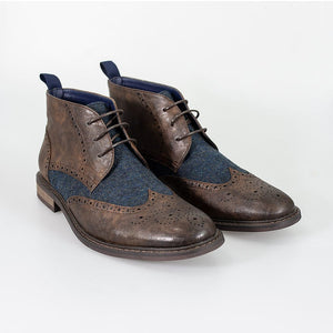 Cavani Curtis Brown Brogue Tweed Boots
