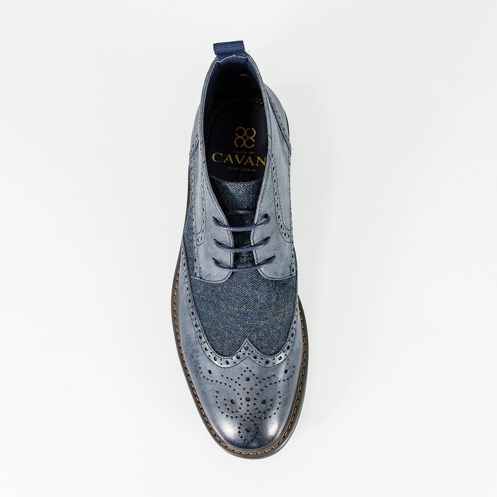 Cavani Curtis Navy Brogue Tweed Boots