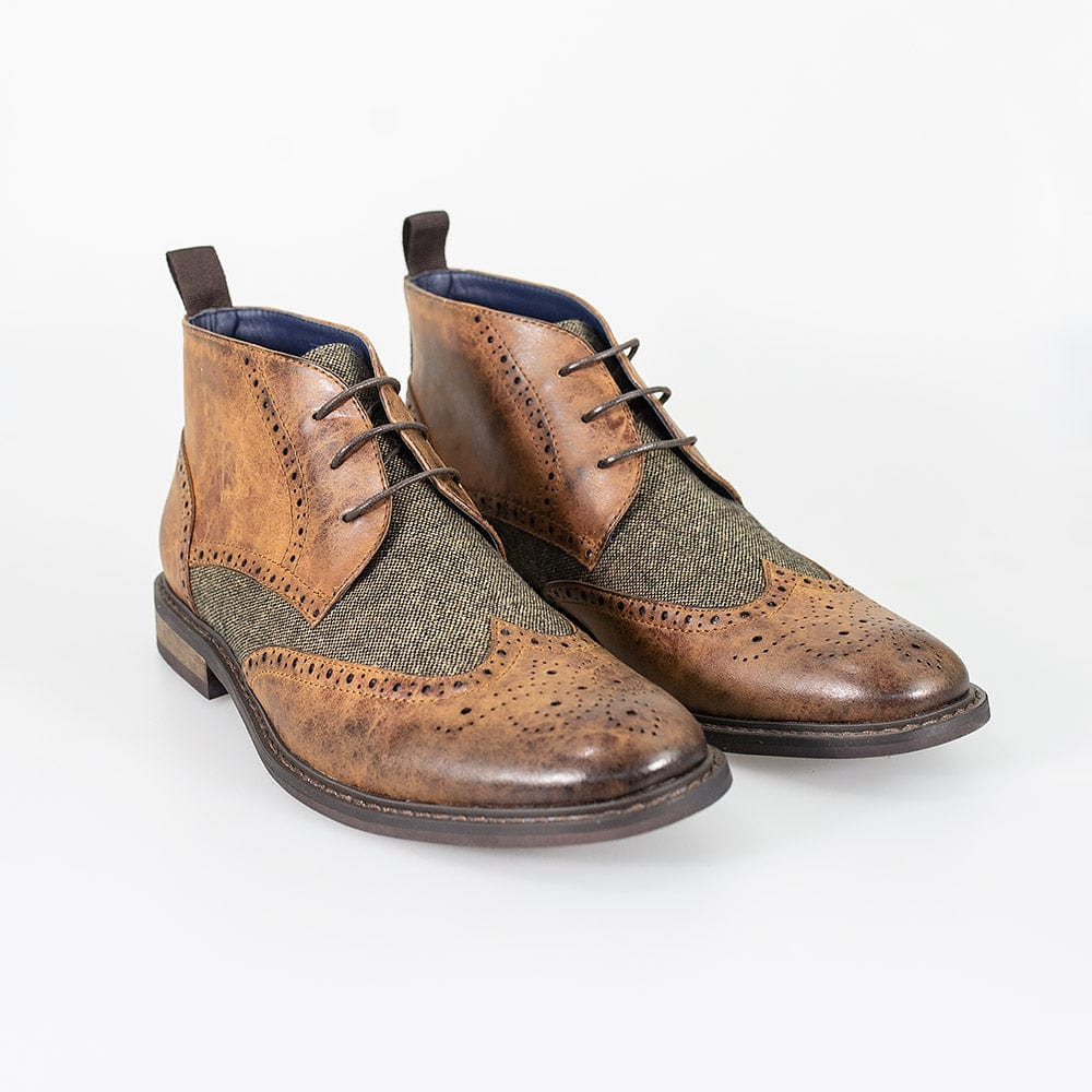 Cavani Curtis Tan Tweed Brogue Boots