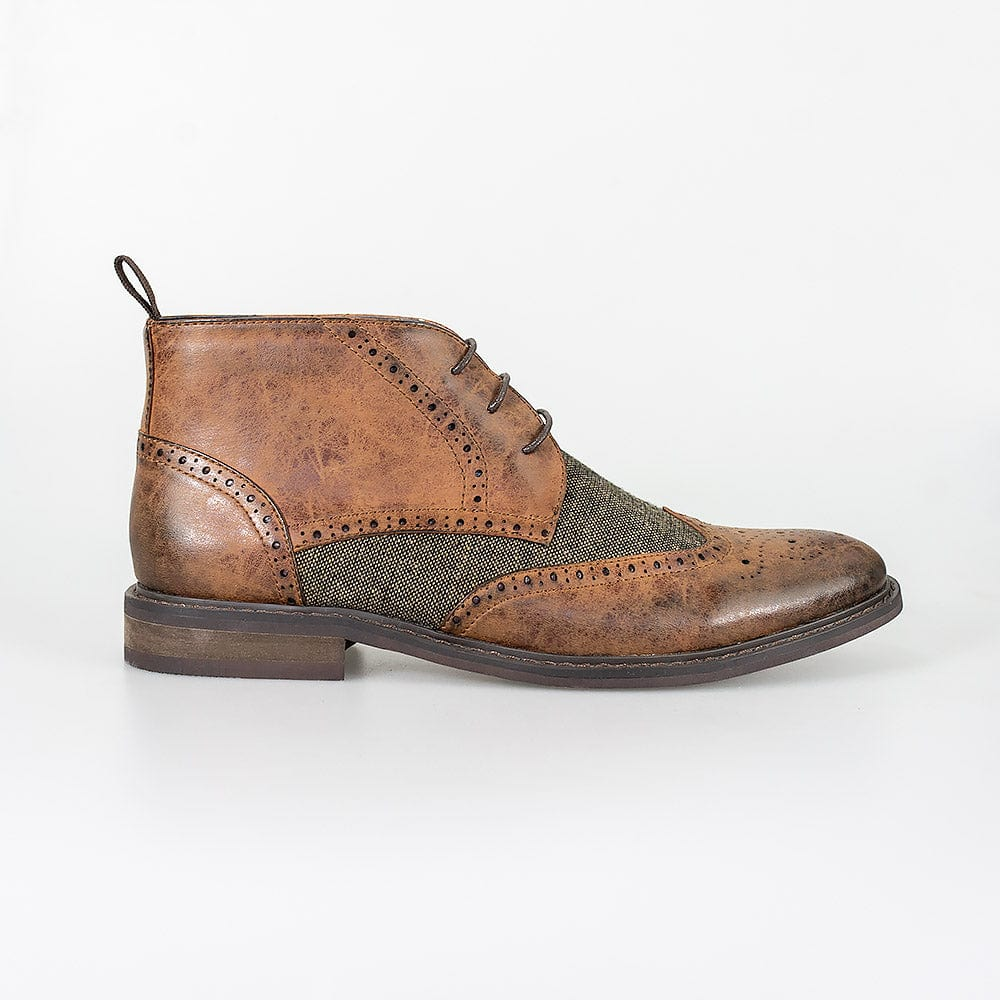 Cavani Curtis Tan Brogue Tweed Boots