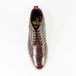 Cavani Holmes Brown Signature Lace Up Brogue Boots