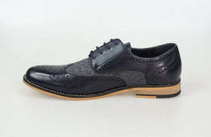 Horatio Navy Leather Tweed Brogue Shoes - Menz Suits
