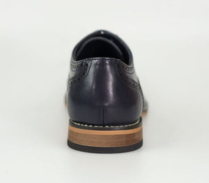 Oxford Navy Leather Brogue Shoes - Menz Suits