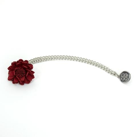 Red Flower Lapel Chain Pin - Menz Suits