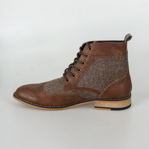 Sherlock Brown Brogue Boots With Tweed Accents - Menz Suits