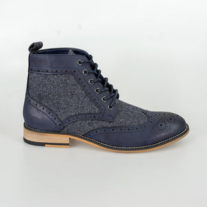 Sherlock Navy Brogue Boots With Tweed Accents - Menz Suits