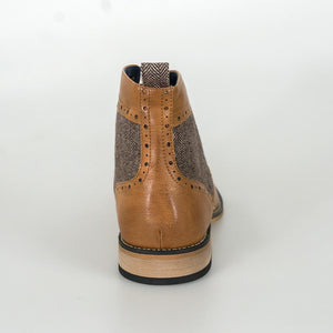Sherlock Tan Brogue Boots With Tweed Accents - Menz Suits