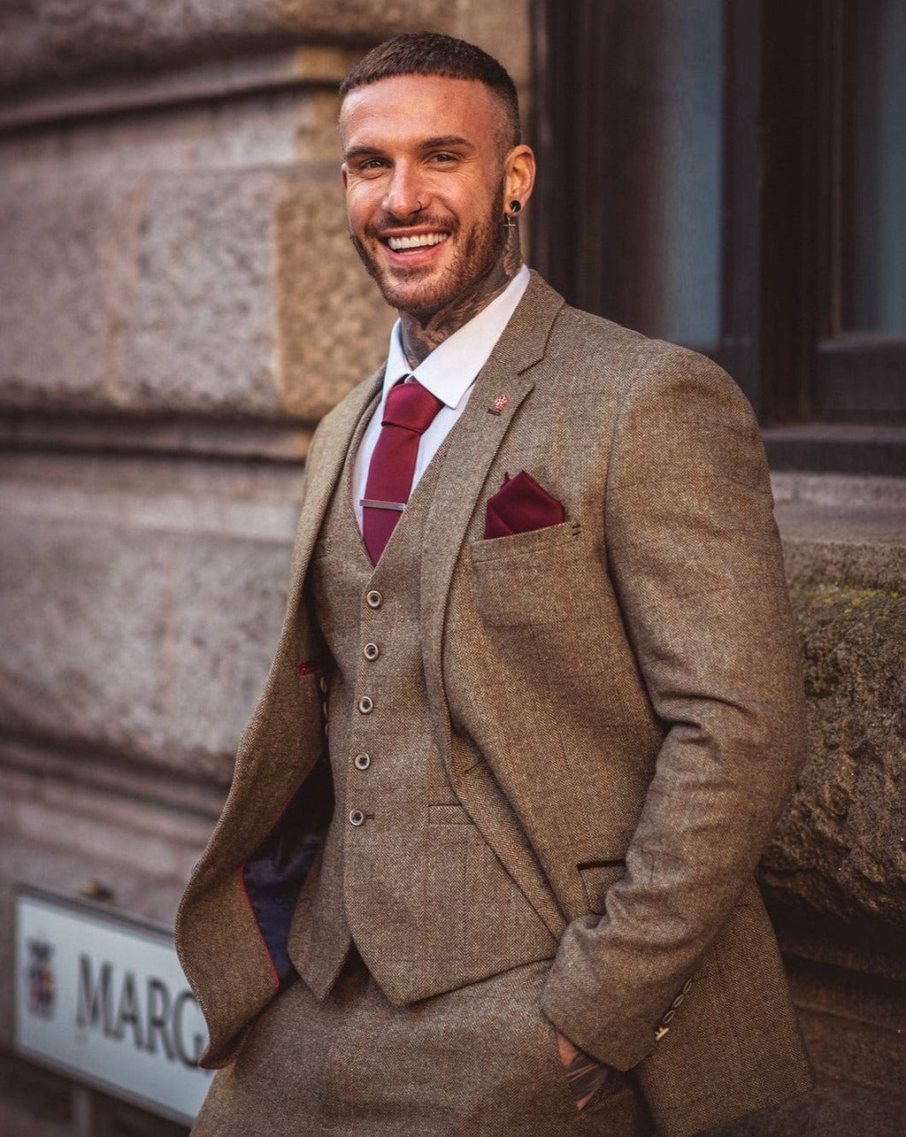 Cavani Gaston Olive Tweed Check Three Piece Suit
