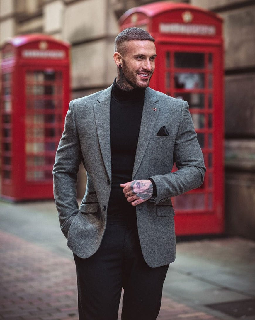 Cavani Martez Grey Tweed Herringbone Blazer