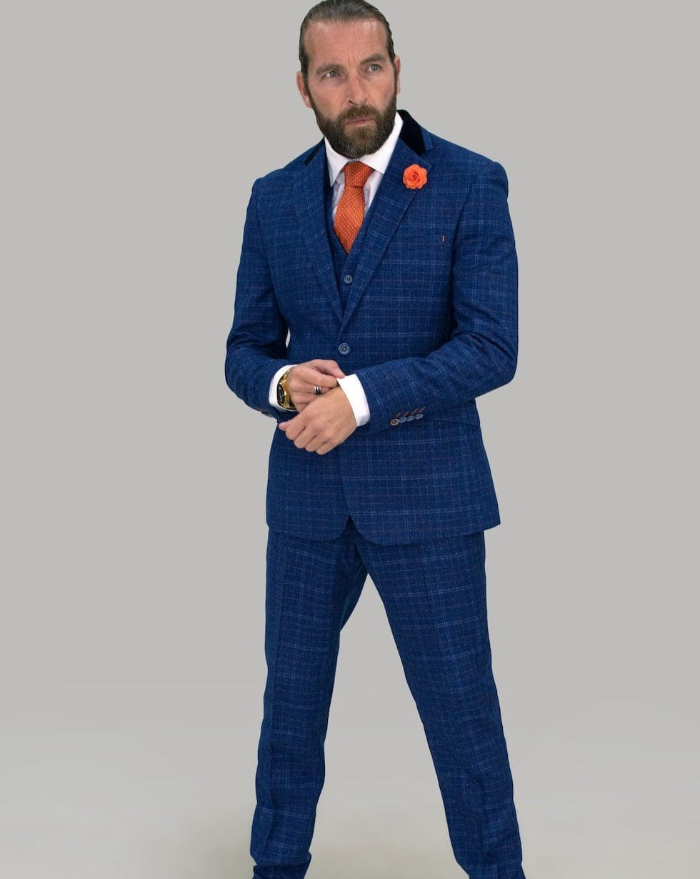 Cavani Kaiser Blue Tweed Check Suit