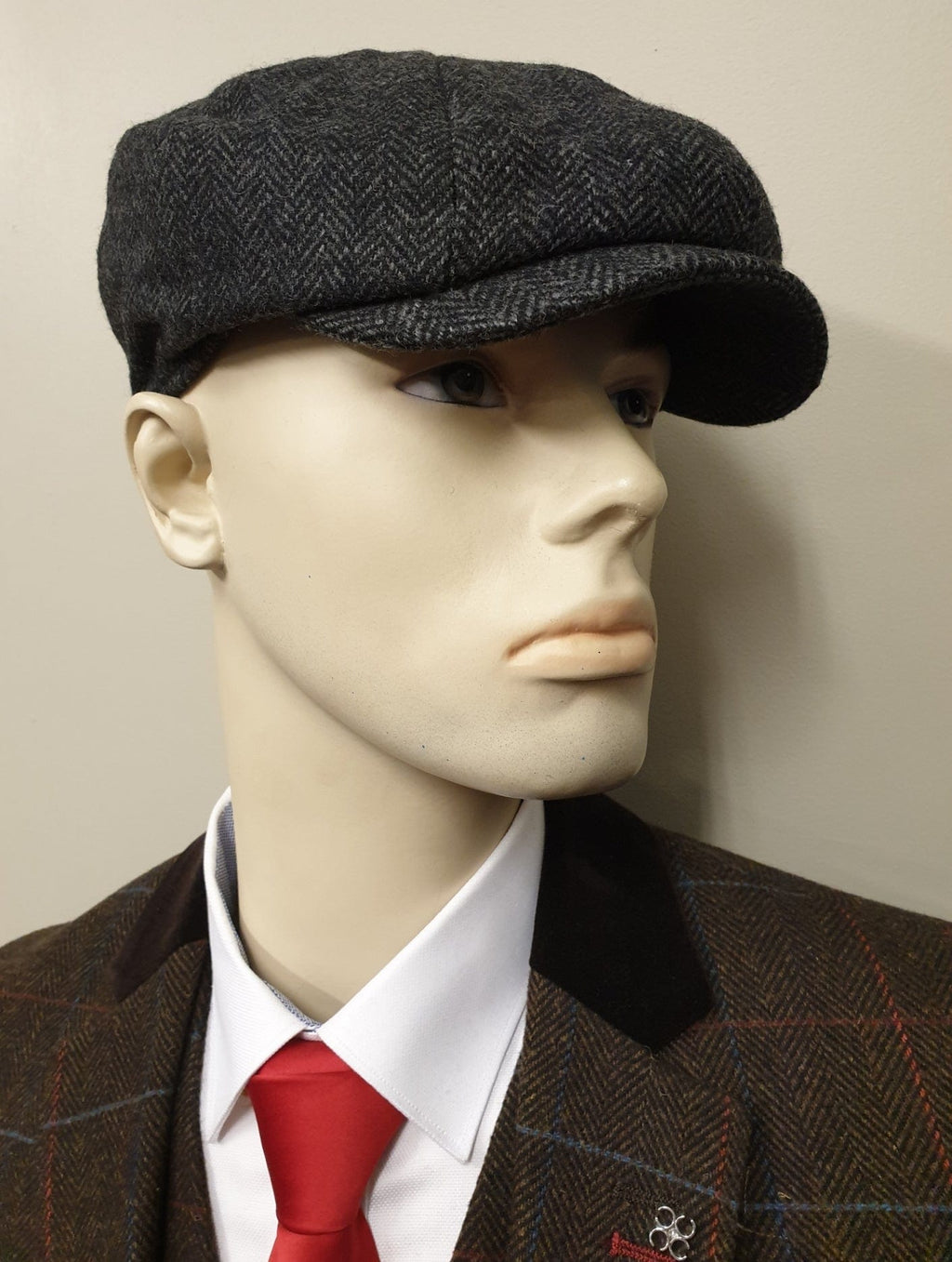 Peaky Blinders Grey Tweed 8 Piece Newsboy Cap