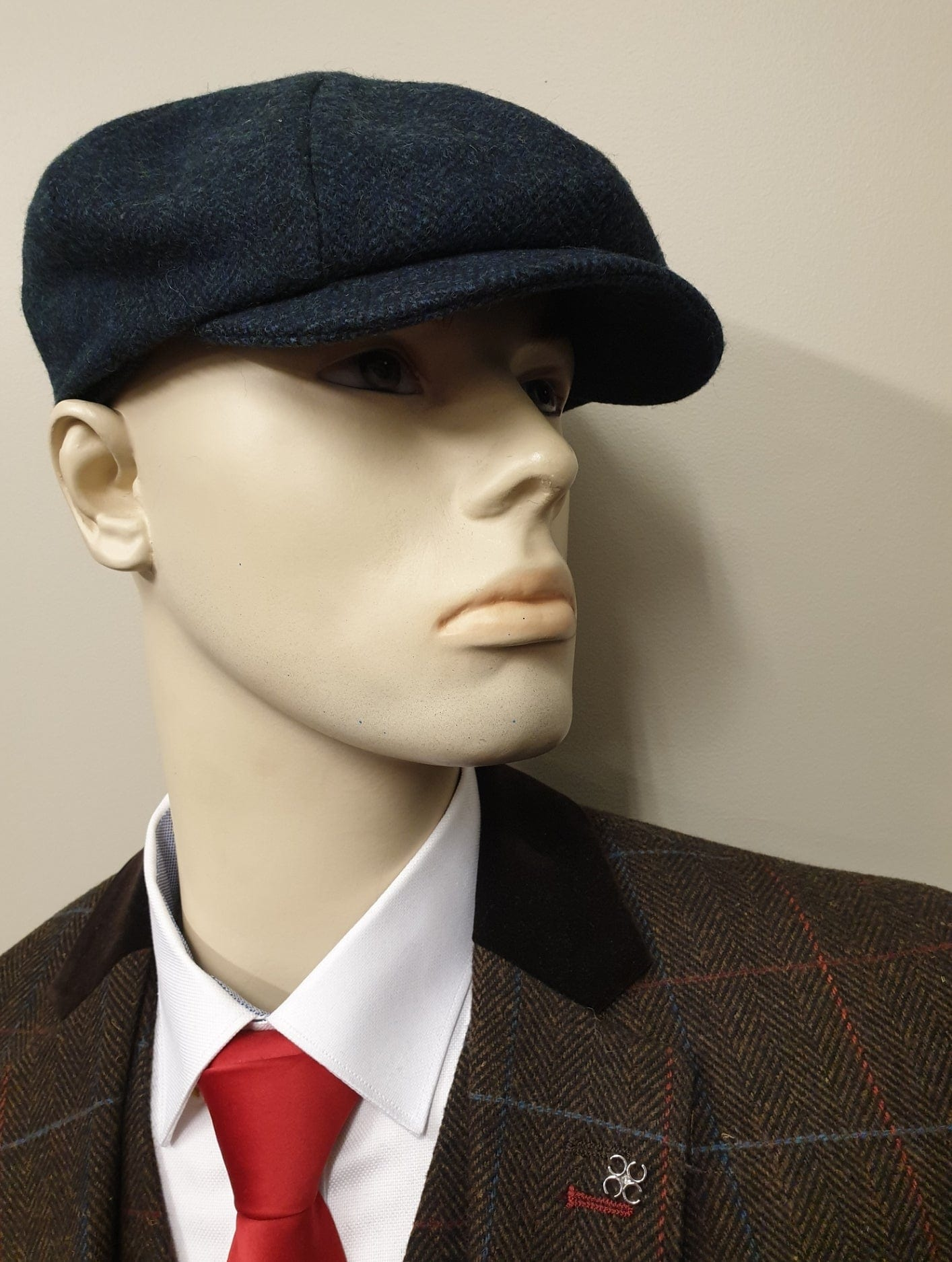 Navy Tweed 8 Piece Newsboy Cap