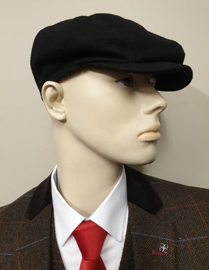 Black Melton Wool 8 Piece Newsboy Cap