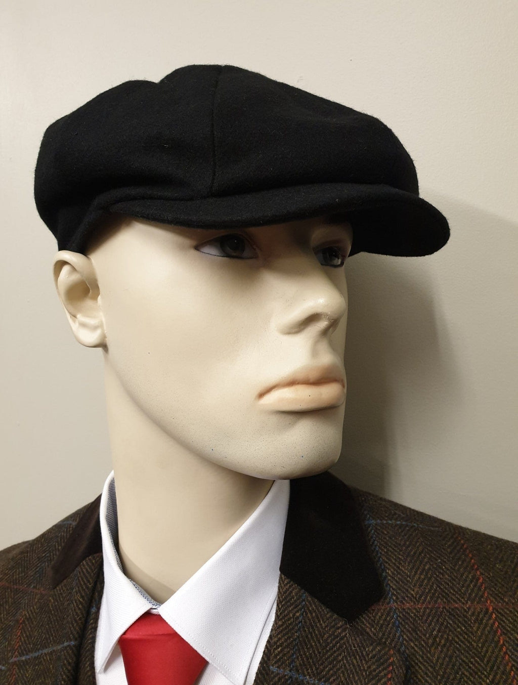 Peaky Blinders Black Melton Wool 8 Piece Newsboy Cap