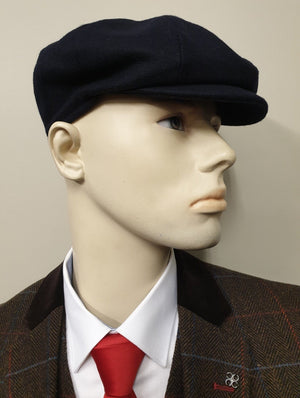 Peaky Blinders Navy Melton Wool 8 Piece Newsboy Cap