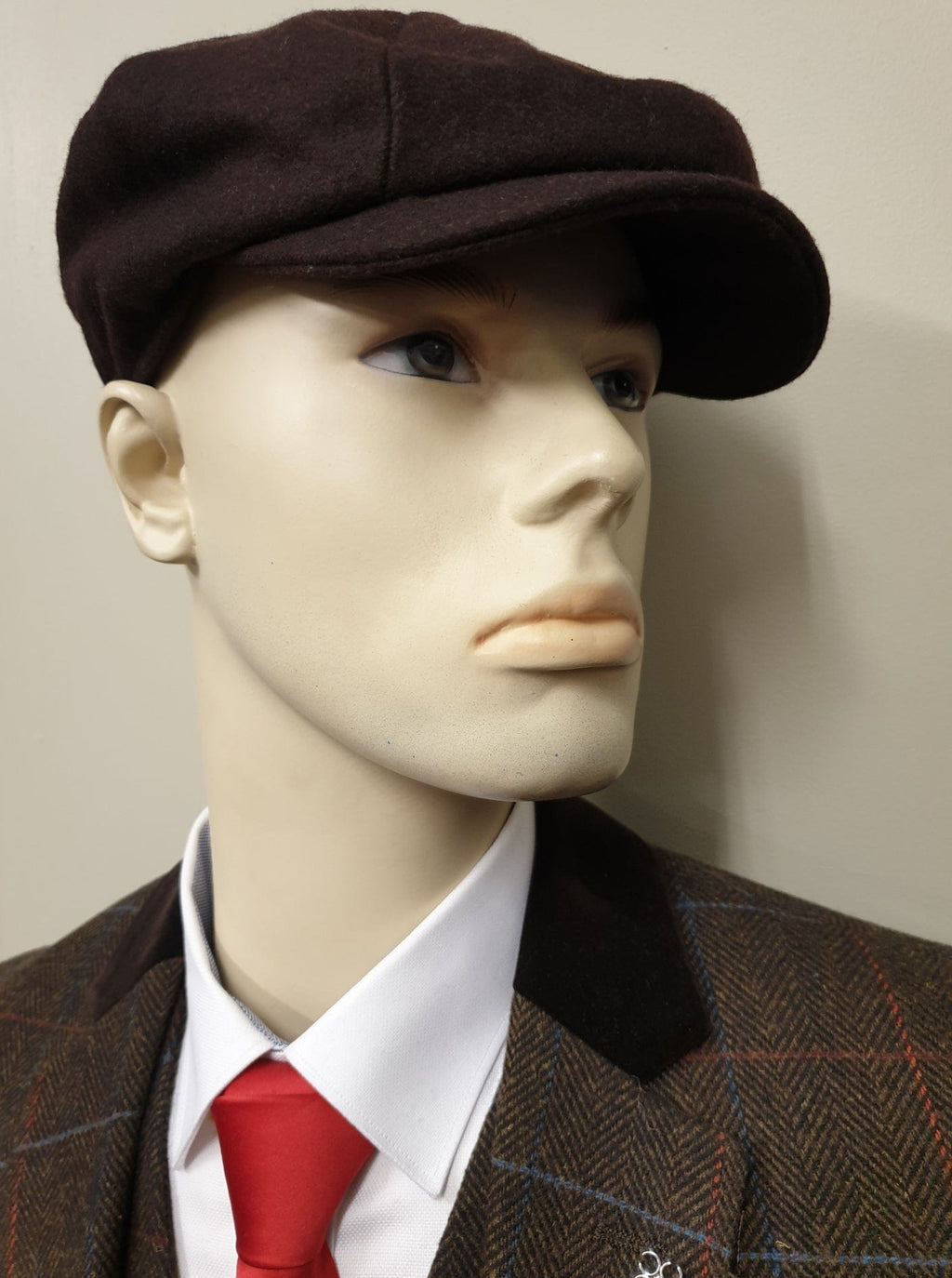 Peaky Blinders Brown Melton Wool 8 Piece Cap
