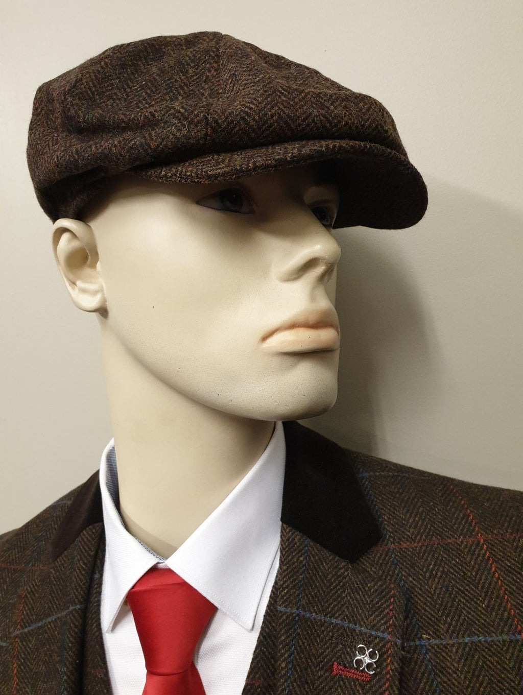 Peaky Blinders Brown Tweed 8 Piece Cap